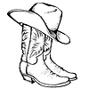 Cowboy-Stiefel und Hut