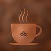 Cup (mug) heißes Getränk Kaffee mit Dampf. Verschwommen