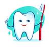 Nette gesunde weiße glänzende Zahn Charakter