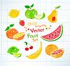 Filzstift Zeichnungen von Obst