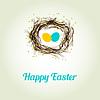 Glückliche Ostern-Karte mit Vögeln und Eier im Nest