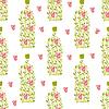 Nahtloses Muster mit Weinflasche der Weinblätter