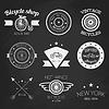 Set Weinlesefahrradgeschäft Logos. Weißes Logo