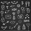 Set Valentinstag-Doodle-Elemente auf Kreidevorstand
