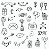 Set Valentinstag-Doodle-Elemente an Bord