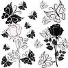 Weiße und schwarze Rose mit Schmetterlingen