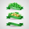 Ustaw Saint Patrick Day Banner z koniczyny i | Stock Vector Graphics