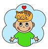 Muchacho de la historieta y durmiendo gato naranja | Ilustración vectorial