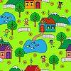 nahtlose Muster mit Häusern, Bäumen und Menschen