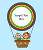Kinder fliegen im Ballonkorb.