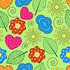 nahtlose Hintergrund mit wirbelt, Blätter, Blüten