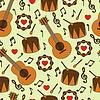 Бесшовный фон с музыкальными инструментами | Векторный клипарт