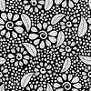 nahtlose Muster mit schwarzen und weißen Blüten
