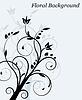 Векторный клипарт: Цветочный фон с завитками свет и растений