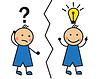 Векторный клипарт: Мультяшный человек ищет решение, и это приходит на ум,