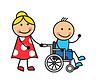 Векторный клипарт: Мультяшный человек на инвалидной коляске