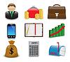 Set helle geschäftlichen und finanziellen Symbole