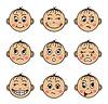 Векторный клипарт: Набор детские лица с различными эмоциями