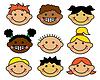 Векторный клипарт: Мультяшный детские лица разных национальностей
