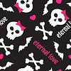 nahtlose Muster mit Schädel, Knochen und Herzen
