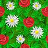 Векторный клипарт: бесшовный узор с листьями, ромашки и розы