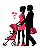 Векторный клипарт: пара бросает коляску с ребенком.