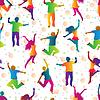 Векторный клипарт: яркие бесшовные фон с прыжки людей