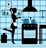 Векторный клипарт: Женщина приготовления пищи на кухне
