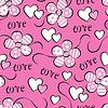 Векторный клипарт: Бесшовные картины с цветами и сердцами