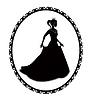 Векторный клипарт: Принцесса силуэт в длинном платье и ретро рамки