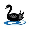 Векторный клипарт: эмблема с черного лебедя