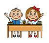 Векторный клипарт: Мультяшный дети, сидя на парте