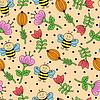 Векторный клипарт: Бесшовные фон с пчел и цветов