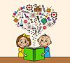 Векторный клипарт: Мультяшный дети читают книги
