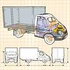 delivery / cargo truck Infografiken Cutaway