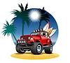 Векторный клипарт: мультяшный 4x4 автомобиль на пляже