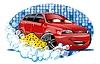 Векторный клипарт: Мойка автомобилей знаком с губкой