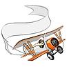 Cartoon biplane with blank banner   Stock Vector Graphics