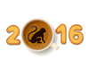 Kaffeetasse mit Symbol des neuen Jahres 2016