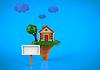 Cartoon zabawny dom w sezonie letnim | Stock Illustration