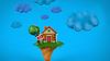 Мультяшный смешной дом в летний сезон, с синим | Иллюстрация