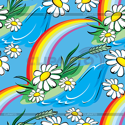 Seamless vector background with spring rainbow and | Klipart wektorowy |ID 4544234