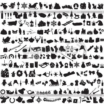 Satz von Silhouetten symbolisieren Winter | Stock Vektorgrafik |ID 4518856