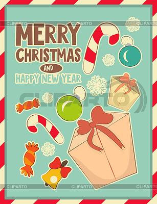 Christmas retro Postkarte mit Spielzeug und Geschenk-Box | Stock Vektorgrafik |ID 4555565
