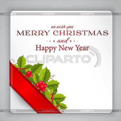 Merry Christmas karty z holly | Stockowa ilustracja wysokiej rozdzielczości |ID 4521249