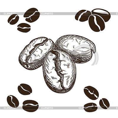 Зерна кофе рисованные