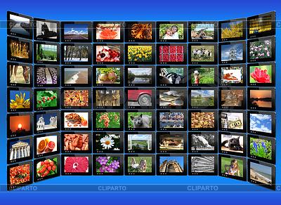 Schwarz Tabletten mit bunten Bildern auf blau | Foto mit hoher Auflösung |ID 4522413