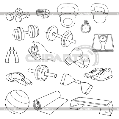 Set of fitness accessories. Dumbbells, exercise | 벡터 클립 아트 |ID 4496233