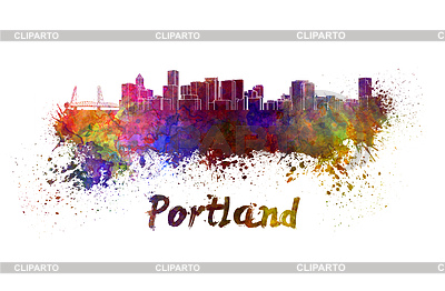 Portland skyline in watercolor | 높은 해상도 그림 |ID 4513065