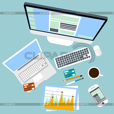 Widok z góry z miejsca pracy z komputerem i urządzeniami | Klipart wektorowy |ID 4561059